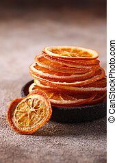 candied orange fruits for dessert and decoration