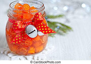 Citrus confiture with candied orange peels pinwheels