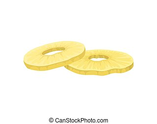 Candied round slices of pineapple on a white background. ...