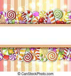 candies., 甘い, 旗, カラフルである