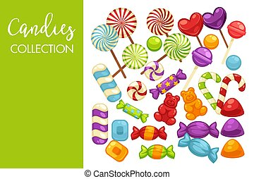 Candies and caramel sweets poster for confectionery or candy...