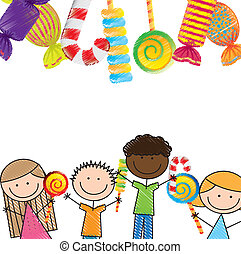 candies and children over white background. vector illustration