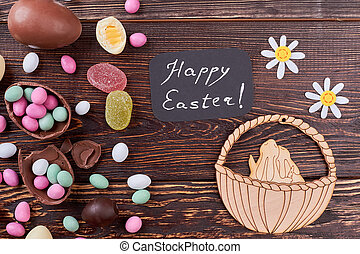 Candies and Easter decorations.
