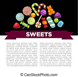 Candies and sweets poster of confectionery caramel hard ...