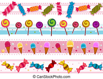 Candies Borders - Four Border Designs of Candies and other...