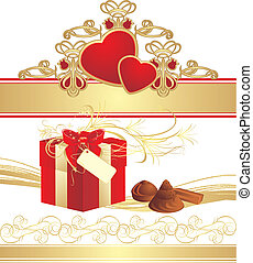Candies, box and hearts