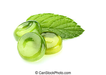 Candies for the throat with leaf mint isolated. - Candies ...