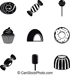 Candies icon set, simple style