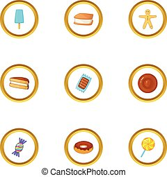 Candies icons set, cartoon style