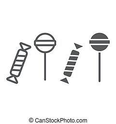 Candies line and glyph icon, food and delicious, lolli-pops ...