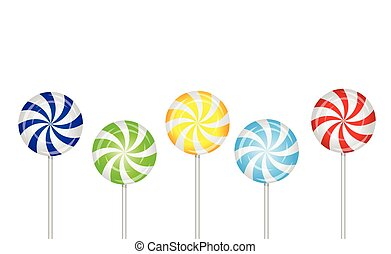 candies lollipops on a white background, vector illustration