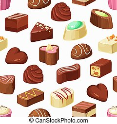 Candies vector seamless pattern of chocolate, truffle and praline desserts. Sweet food background of cocoa candies with nut, caramel and coffee cream fillings, nougat, fruit mousse and sugar icing