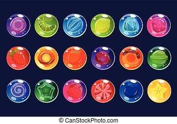 Candies sett, glossy sweets of different colors and tastes vector Illustrations for apps, web and game usetr interface