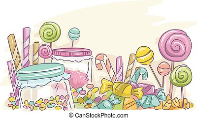 Candies Sketch - Sketchy Illustration Featuring Assorted...