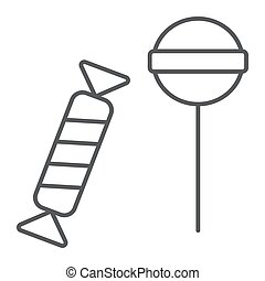Candies thin line icon, food and delicious, lolli-pops sign...