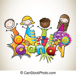 candies with children over brown background. vector...