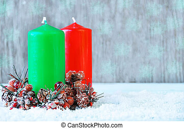 candle., χριστουγεννιάτικη κάρτα