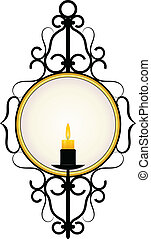 Candle and a mirror in a frame