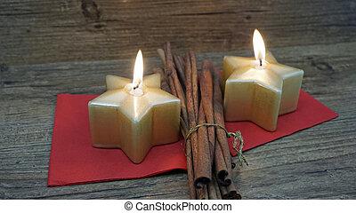 candle and cinnamon