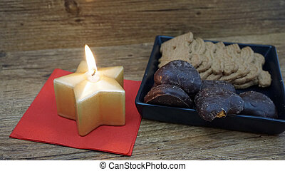 candle and cookies