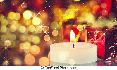 candle and glittering christmas background seamless loop