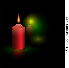 candle and green ball - on a black background are burning...