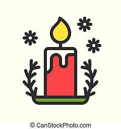 candle and holder, . cute christmas and winter related set,editable outline suitable for use as material