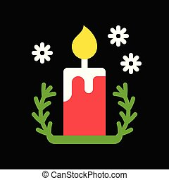 candle and holder, cute christmas and winter related set,flat design suitable for use as material