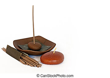 Candle and incense - isolated photo of some candles and...