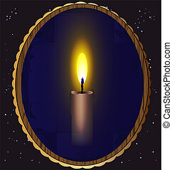 candle and mirror - in the night sky a mirror which reflects...