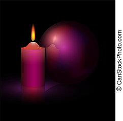 candle and purple ball - on a black background are burning...