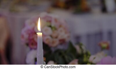 Candle at the party in restaurant
