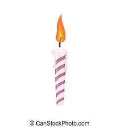 Candle birthday cake. Festive red candle isolated