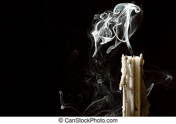 Candle blow off with smoke