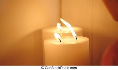 candle blow off with smoke.
