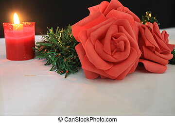 Candle burning and rose photoshoot for Valentine's day