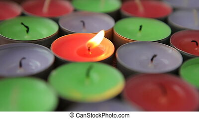 Candle burning and then flame fades. - Candle burning and...