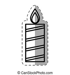 candle christmas decoration cut line vector illustration eps...