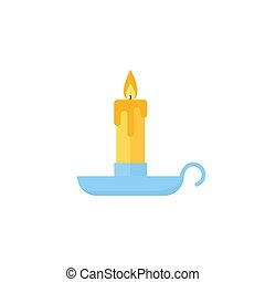Candle Christmas icon. Vector illustration in flat design.