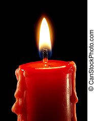 Candle - Closeup of burning candle on black background