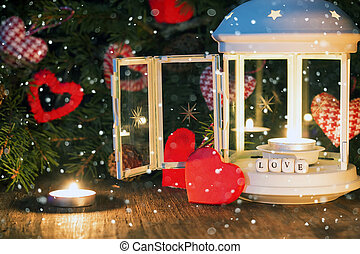 candle dark snow heart