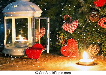 candle dark snow heart