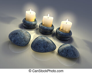 Candle - Three light candles and three stones -rendered in...