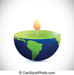 candle earth globe. illustration design