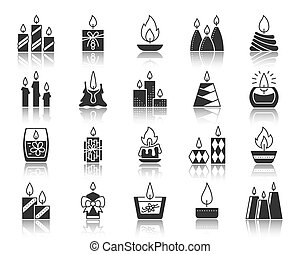 Candle Flame black silhouette icons vector set