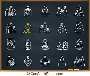 Candle Flame chalk draw line icons vector set