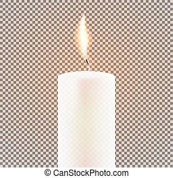 Candle Flame on Transparent Background. Vector Illustration.