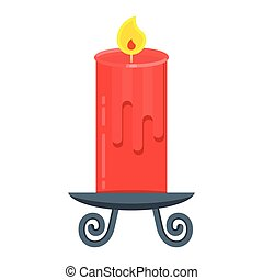 candle flat red - Vector red candle in candle holder or...