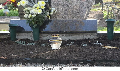 candle flower grave burn - candle in glass pot burn and...