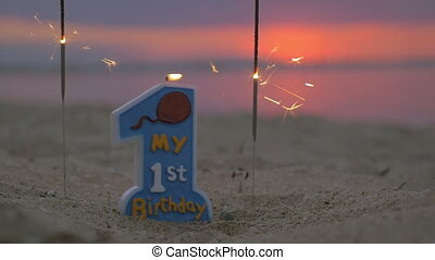 Candle for baby boy first birthday
